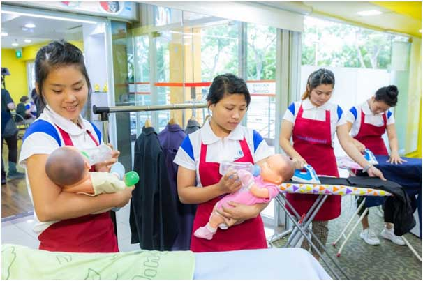 two maids trained to do baby siting