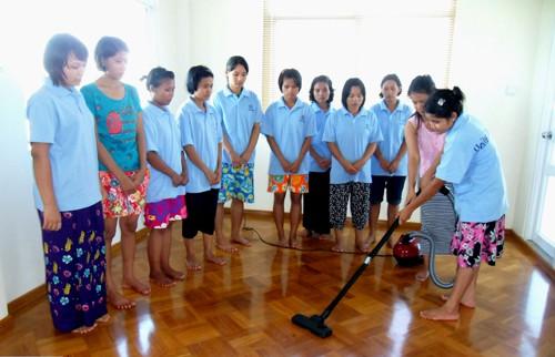 Myanmmar maids undergoing training