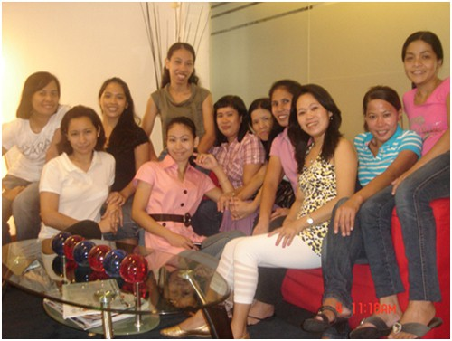 Domestic helpers gathering for a party
