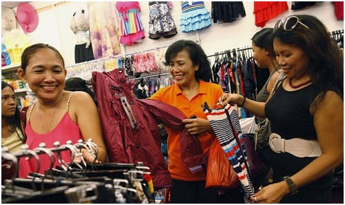 Enjoying shopping on their off-day